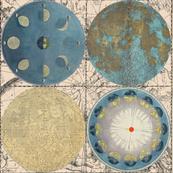 Map Wraps™ BlueMoon Globes fat quarter