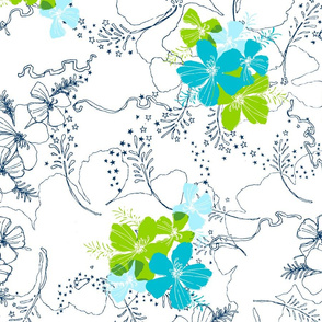 Hawaiian Garden Floral - navy, white and teal