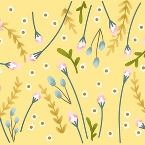 Soft Yellow and Pink Floral Children's Style Design
