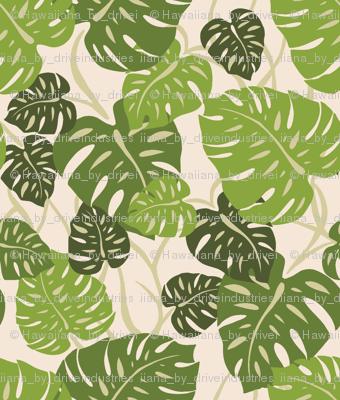 CliffHanger-fabric-repeat-greenHawaiian Monstera Leaves- Sage Green
