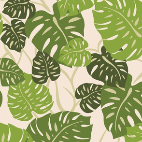 CliffHanger-fabric-repeat-greenHawaiian Monstera Leaves- Sage Green