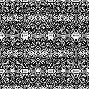 Gray, black, and white spiral dragon eye design
