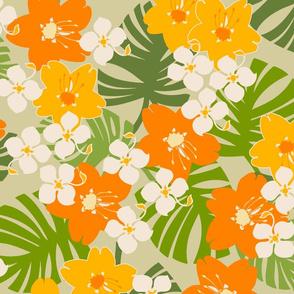 Hawaiian Tropical Garden Floral - Khaki and Orange
