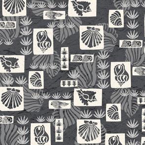 Hawaiian Undersea Shells Tapa Print - Charcoal
