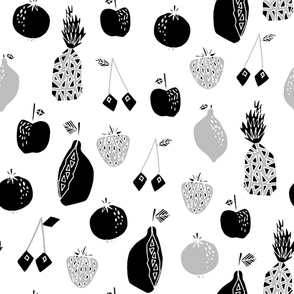LARGE - Fruits fabric - black and white fruits fabric, fruit pattern, fruits,, pineapple fabric