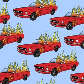 Burning Mustang // Red Car in Flames