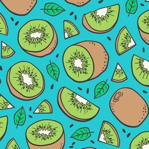 Kiwi Fruits on Blue