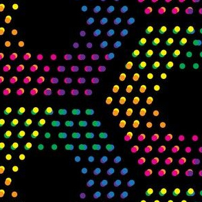 Dotted hexagons on black