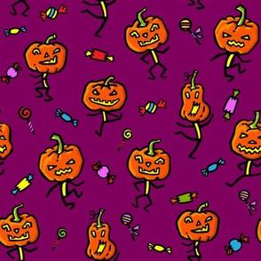 Dancing pumpkins on bordo background