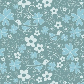 Floral pattern with bird Green