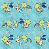 Kawaii sea turtle and fish friends