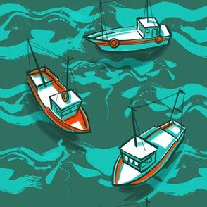 Fishing boats pattern