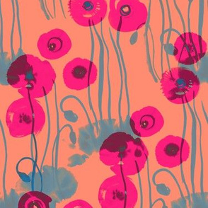 Pink watercolour poppies