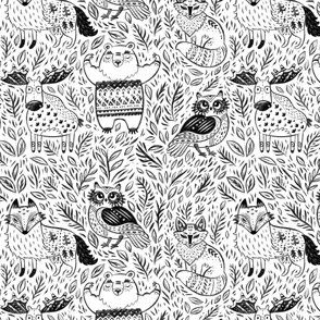 Pencil forest animals