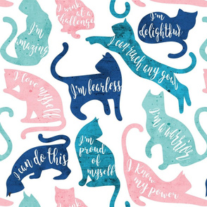 Be like a cat // normal scale // white background pastel pink blue aqua and teal cat silhouettes with affirmations
