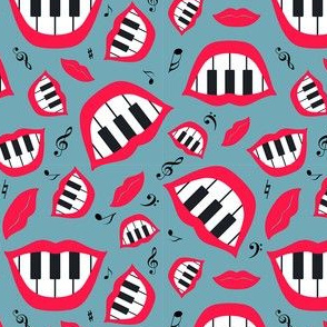 Piano smile pattern in grey and red