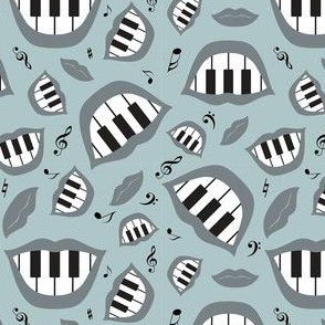 Piano smile pattern in grey