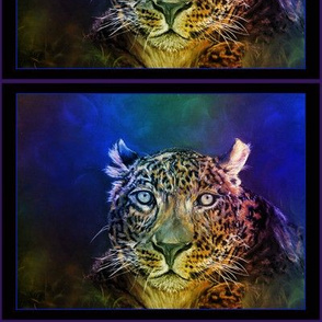 "8"" LEOPARD JAGUAR PANTHER JUNGLE FELINE 1 BLUE CHALK PASTEL DRAWING RECTANGULAR label vignette PANEL"