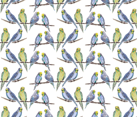 budgies WHITE fabric by laurawrightstudio on Spoonflower - custom fabric