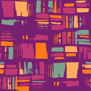 Abstract pattern in purple, cold green and orange