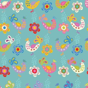 Birds and flowers on a blue background
