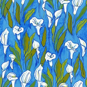 Pattern with calla lilies (blue b/g)