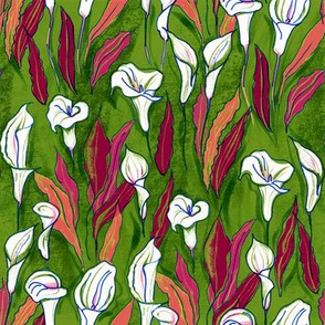 Pattern with calla lilies (green b/g)
