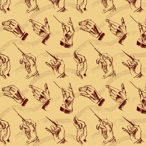 Conductor's hands (pattern in brown and ochre)