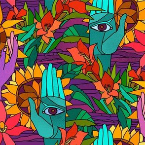 Hands and flowers (hippie pattern sunflowers, gladiolus and