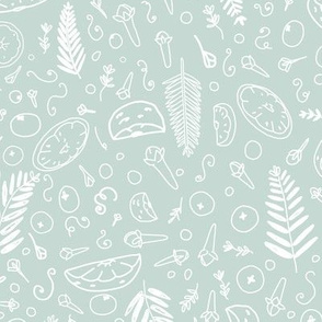 Handful Of Christmas Scents seamless pattern background.