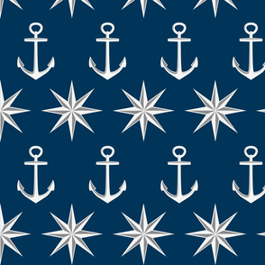 Nautical Anchors, Navy, White, Gray-Large