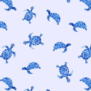 Blue watercolor turtles on blue || ocean pattern