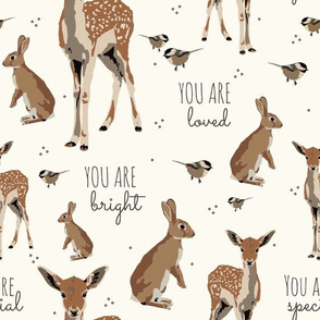 Woodland animal affirmations on cream