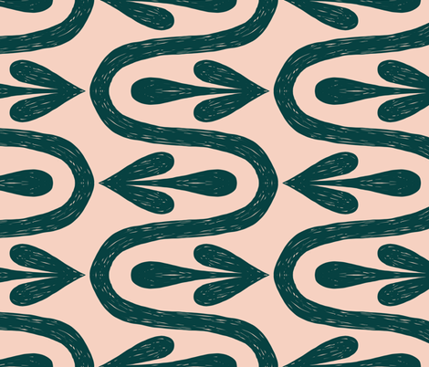 The Way - Large scale - Dark Teal on Peach fabric by new_branch_studio on Spoonflower - custom fabric