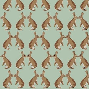 Bunny kisses on seafoam green