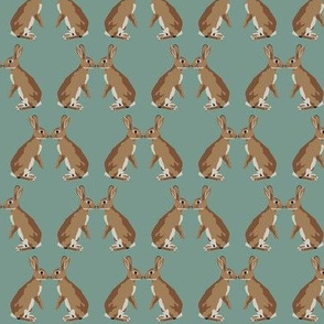 Bunny kisses in teal