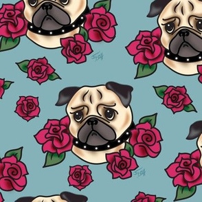 Pugs and Roses- Blue