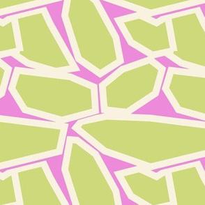 Geometric Shapes in a Preppy Pink and Green in a Random Pattern