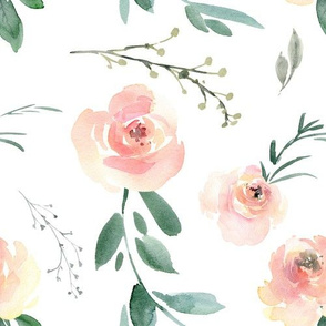 Blush Watercolor Floral Medium