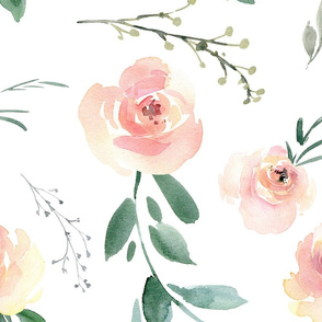 Blush Watercolor Floral Large