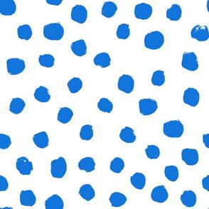 painted blue dots - painted round dots, dots fabric, dot design - cobalt blue