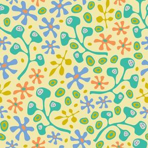 Cool Floral Fun 60s Vibe Yellow Turquoise Orange Green