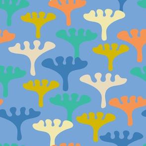 Cool Floral Botanical 60s Fun Blue Orange Turquoise Yellow White