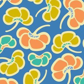 Cool Poppy Fun Floral Blue Orange Yellow Turquoise