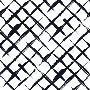 Black and White Doodles - Diagonal Checkered