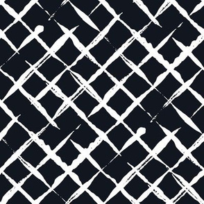Black and White Doodles - White Checkered