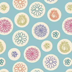 Flowers in bubbles on a light teal background
