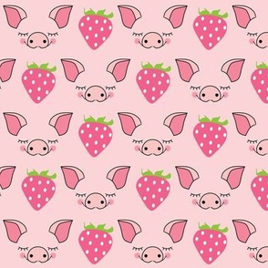 pig faces without outlines and strawberries