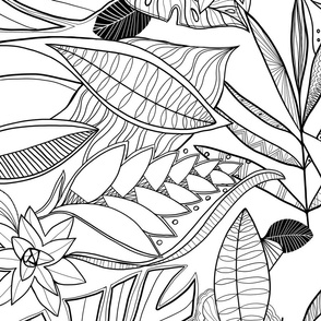 bohemian line art: black and white LARGE scale