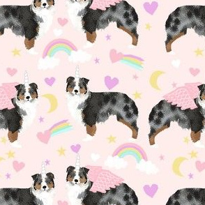 australian shepherd dog unicorn fabric - dog unicorn fabric, blue merle aussie fabric, aussie dog fabric, pastel - light pink